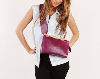 Purple leather clutch / Small leather clutch / Small leather bag / Purple bag 'Kate Violet' by A-Rada