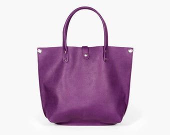 Purple tote / Shopping bag / Purple leather bag / Leather Shoulder bag 'Clementina Violet' by A-Rada