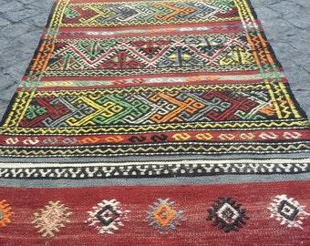 Turkish kilim Rug Vintage kilim Rug Anatolian kilim Rug hand made Kilim Rug 4.5ft-2.3