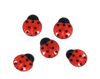 Ladybug Buttons Jesse James Buttons CC Sunflowers Dress It Up Buttons Set of 5 Shank Back Lady Bugs - 713C