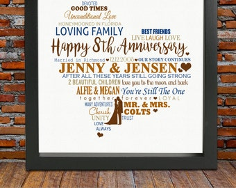 personalized 8th anniversary gift 8 year wedding anniversary gift 8th wedding anniversary gift