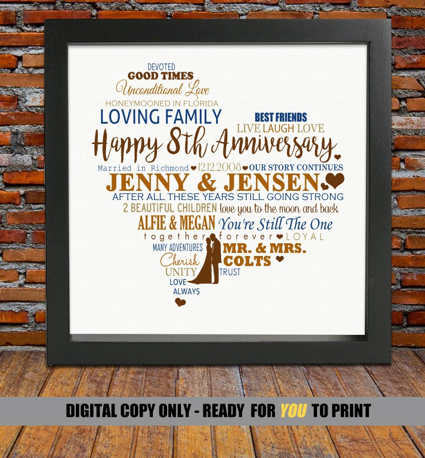 8th Wedding Anniversary Gift For Her: Personalized 8th Anniversary Gift 8 Year Wedding Anniversary