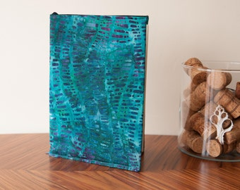 A5 Fabric Book Cover in Batik Print- Green and Purple Cover With Batik Lining. Handmade, Gifts For Her, Gifts For Him. Free A5 Notebook.