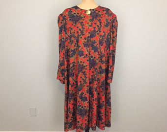 Size 3X Shift Dress Tunic Dress Red Paisley Print Dress Long Sleeve Midi Loose Day Dress Size 22 Size 24 Size 2X Womens Plus Size Clothing