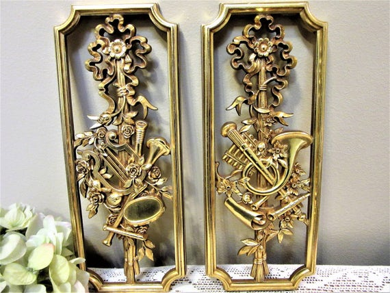Gold Wall Home Decor : Plaques wall hanging home decor gold musical theme homco usa a