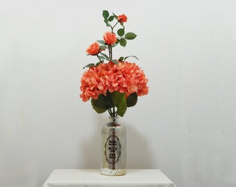 Mercury Glass Vase, Tall Arrangement, Silk Hydrangeas, Silk Roses, Large Arrangement, Living Room Decor, Floral Arrangement,