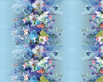 Giverny Digital Floral Stripe Fabric by Red Rooster