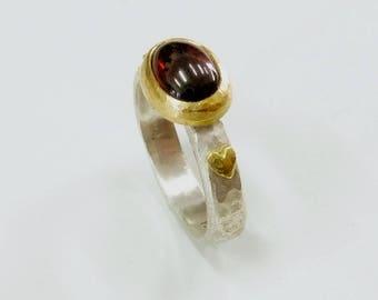 Sterling Silver and Garnet Custom Ring.