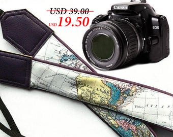Dark purple DSLR / SLR Camera Strap. World Map Camera Strap. Camera accessories. Unique gift for photographer.