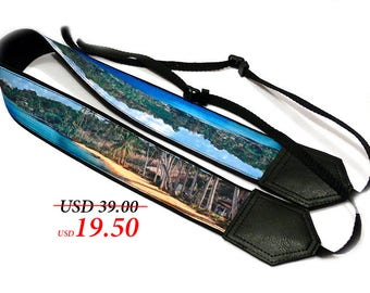 Beach camera strap. Ocean, palms and sand Camera Strap.  Landscape camera accessories. Photographer gift by InTePro
