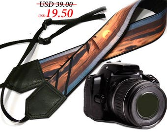 Sunrise camera strap. Beach Camera Strap. DSLR / SLR Camera Strap. Camera accessories. Photographer gift by InTePro