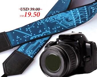 InTePro Computer camera strap. Microsheme Camera strap. Blue green Circuit board Camera Strap. Men's Camera strap.