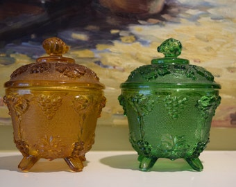 2 Jeannette Glass Pedestal Candy Dishes or Candle Holders Green and Gold Green Bay Packer Shrine