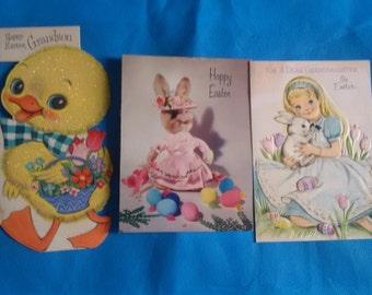 Vintage Easter Cards Set of 3