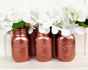 Set of 3 Metallic Mason Jars. Wedding. Shower. Home. Decor.