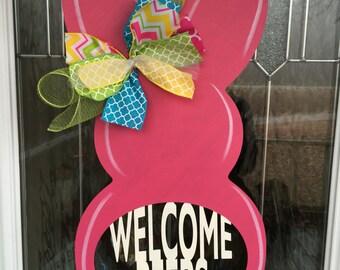 Welcome peeps, peeps door hanger, easter door hanger, easter door decor, easter door, easter, spring decor, spring door decor, bunny, rabbit