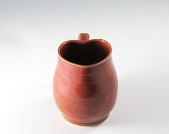 Heart Shaped Pottery Mug,Ceramic mug,Valentine ceramic mug,Valentine Mug,plum Valentine Pottery,coffe mug,pottery mug,Valentine Gift