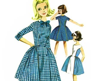 1960s Girls Princess Seam Dress Pattern Contrast Panel Party Dress With Full Skirt Vintage Sewing Pattern Butterick 2583 Girls Size 10