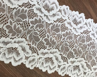 Off White Stretch Lace Trim, Elastic Lace Trim, Vintage Embroidered Floral Lace, Sell By The Yard