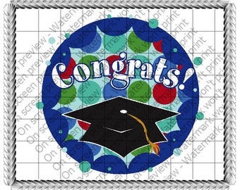 Graduation Congrats Edible Cake or Cupcake Toppers - Choose Your Size
