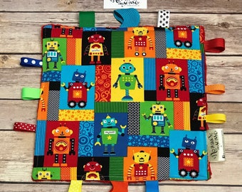 ROBOTS Sensory SOOTHER! Robots Lovey. Robtos. Tags. Teether Toy.  Sensory Toy.  Ribbons. Minky. SPD. Sensory Tool. Teether. Crinkle Paper.