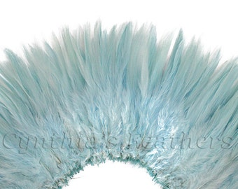 Wholesale 1/2 Yard, Strung Rooster Aqua Blue Saddle Feathers (5-7 inches in length) for Crafting, Sewing, Wedding, Decoration SKU: 7A32