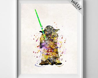 Yoda Print, Yoda Poster, Star Wars Poster, Yoda Art, Star Wars Gift, Nursery Decor, Giclee, Star Wars Art, Boy Gift, Type 2, Gift For Him