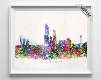 Rotterdam Skyline Print, Netherlands Print, Rotterdam Poster, Dutch Cityscape, Watercolor Painting, City, Wall Art, Christmas Gift