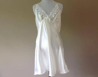 L / Satin Chemise Dress Slip Nightie / Vintage Lingerie by Val Mode / Large / New With Tags / FREE USA Shipping