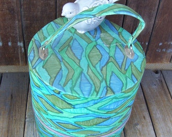 Air Lander Abstract Blue,Turquoise and Green Hat Box,Original Tag,Wig Carrier,Luggage,Vinyl Travel Case,Made by Sealtron Corp