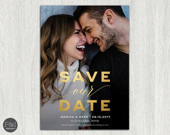 Gold Foil Save the Date Photo Invitation | Save our Date | Customized Printable (5x7)