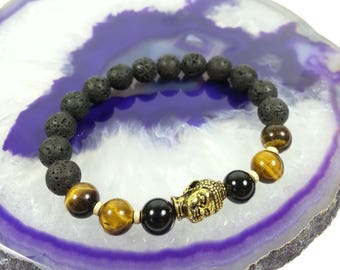 Trio Protection Bracelet w/ 14k Gold Filled Beads (Lava, Tiger Eye, Black Tourmaline),8mm,Lava Bracelet,Dad's Bracelet,Father's Day Gift