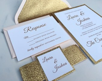 Gold Glitter Wedding Invitation - Luxe Blush & Gold Glitter Wedding Invites - Pale Pink Wedding Invitation Suite - Sample Set