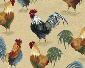 Chicken Fabric, Rooster Fabric, Windham Country Kitchen 41212-1 Megan Duncanson, Rooster Quilt Fabric, Chicken Quilt Fabric, Farm, Cotton