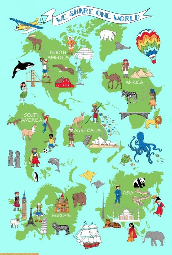 Large world map fabric panel we share one world windham fabrics large world map fabric panel we share one world windham fabrics 42714p x quilt fabric panel super size 47 x 70 whistler studio cotton gumiabroncs Gallery