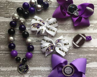 Baltimore Ravens Hair Bow - Baltimore Ravens Football Outfit