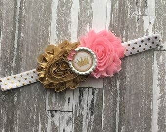 First Birthday Outfit - First Birthday Headband - First  birthday Hair Bow - First Birthday party - gold and pink headband