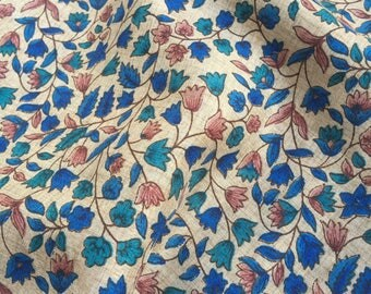 30% OFF Handloom Silk Fabric, Beige Silk floral Print,Dress Silk Fabric,Indian Silk By Yard,Tussah/Tussar Silk ,Indian Block Print Fabri