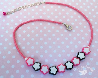 Pink and Black Kawaii Bead Choker - Decora - Fairy Kei - Harajuku Fashion - Let's Go Fairily
