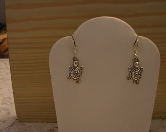 Silver Tone Turtle Charm Dangle Earrings