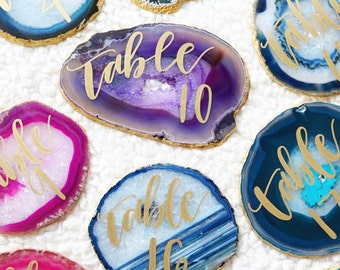 "4"" - 5"" custom calligraphy table number agate slices"