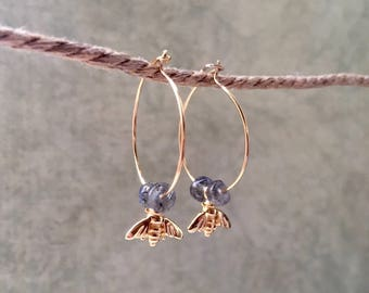 Vermeil Creoles with bees charms and Labradorite beads