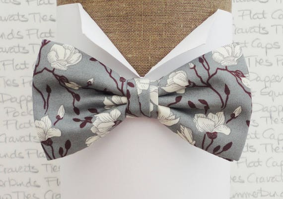 Bow ties for men, floral bow tie, ivory roses with burgundy stems on grey,