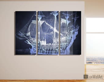 Old Ship Metal Wall Art Print Ready to Hang