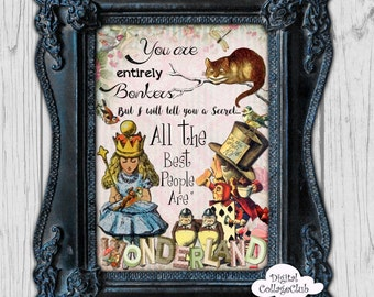 Alice In Wonderland Wall Art alice in wonderland wall decal mad hatter quote curiouser and