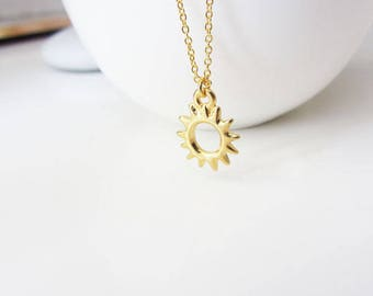 Gold sunburst necklace, sun necklace, sun pendant necklace, gold sun necklace, gold charm necklace, celestial charm necklace