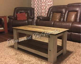 Solid Wood Distressed White with dark walnut coffee table