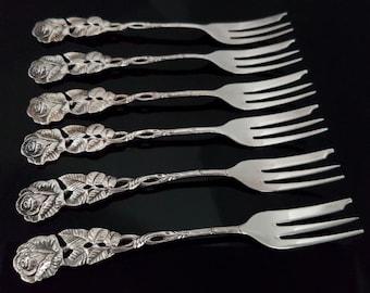 Vintage Silver Plated Dessert Forks, Hildesheimer Rose Decor, WIDMANN, Set of 6 / Mid Century German Silverware & Flatware