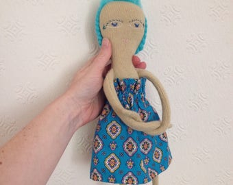 Cashmere doll // wool stuffing and turquoise blue  hair // handmade girl UK seller