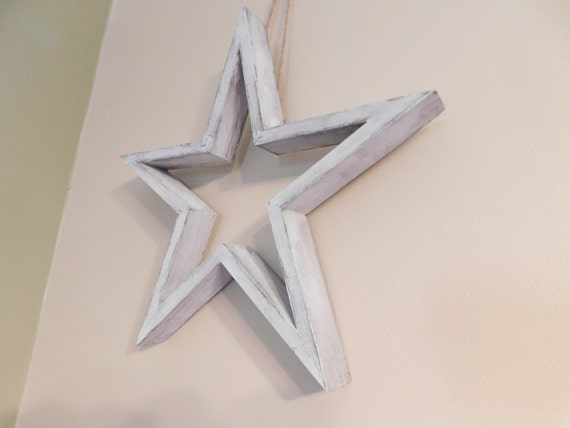 White Star Wall Decor : White distressed star wall hanging home decor